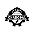 organic charcoal logo design with gear icon