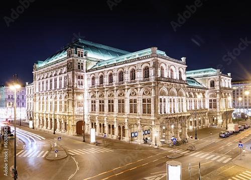 Vienna's State Opera House (Staatsoper) at night, Austria.