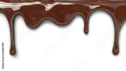 milk chocolate pouring isolated, 3d illustration