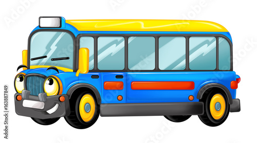 Cartoon happy and funny cartoon bus looking and smiling - illustration for children - 163887849
