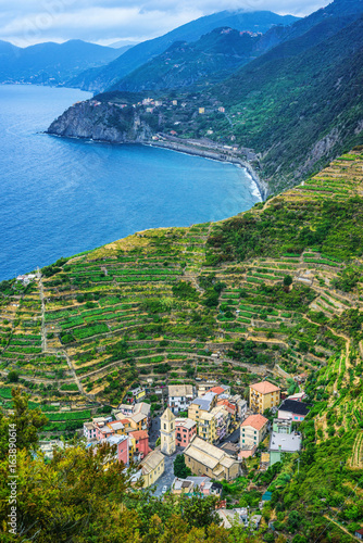 Manarola town in Cinque terre view from above. under UNESCO World Heritage. Beautiful mountain and sea background. Pearl in the mountains
