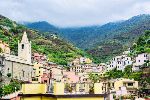 Vernazza town in Cinque terre view from above. under UNESCO World Heritage. Beautiful mountain and sea background. Pearl in the mountains
