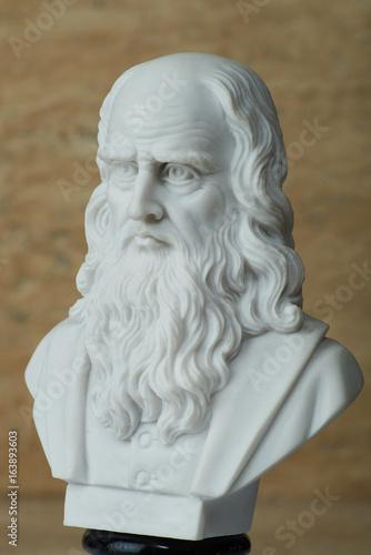 Statue of Leonardo Da Vinci,ancient Italian creator of art. Poster