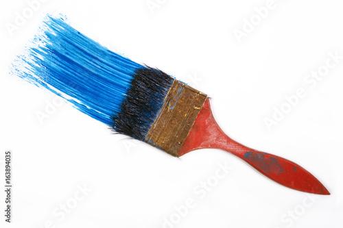 Paintbrush isolated on white .Blue Paint Brush Stroke