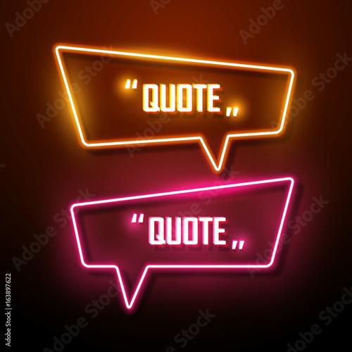 Neon sign speech bubble. Vector illustration.