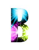 Sparkler firework letter isolated on white background. Vector design light effect alphabet. Letter B