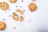 Background with chocolate chip cookies. Copy space. Flat lay. Top view.