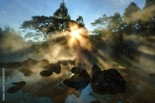 background blur light morning with the mist of the hot springs covered. Is a popular place to visit in the morning in Thailand. © MAGNIFIER
