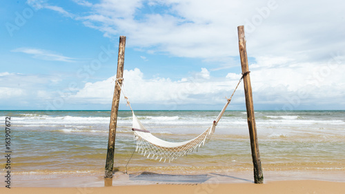 Ocean beach relax, outdoor travel. Sea view from tropical beach with sunny sky
