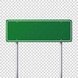 Road green traffic sign. Blank board with place for text.Mockup. Isolated information sign. Direction. Vector illustration. - 163910881