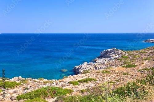 Greece,Rhodes, coastline of Mediterranean sea .