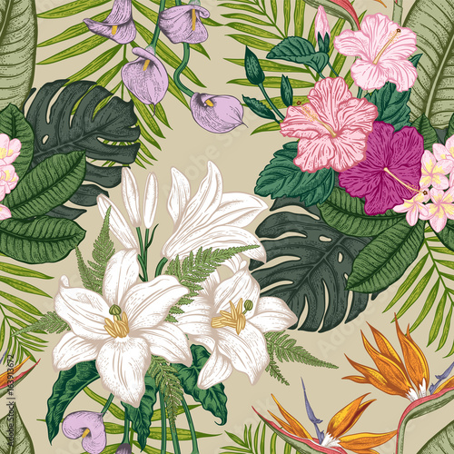 Tapeta Seamless pattern with tropica flowers. Vector illustration.