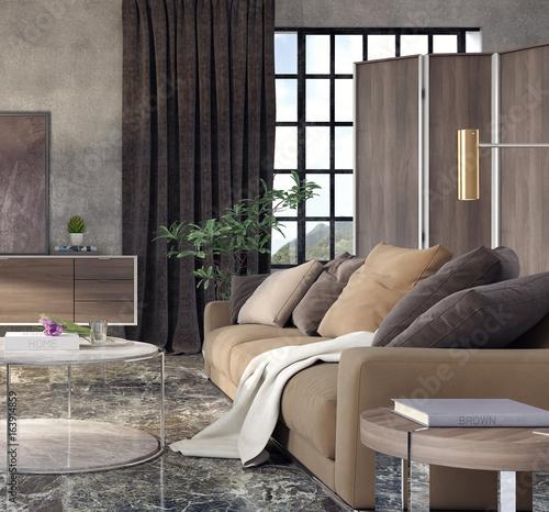 Living room, interior design 3D Rendering - 163914859