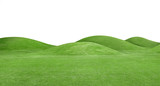 panorama of green hills is on white background - 163916292