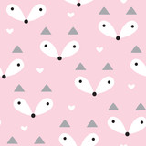 seamless pastel fox pattern vector illustration