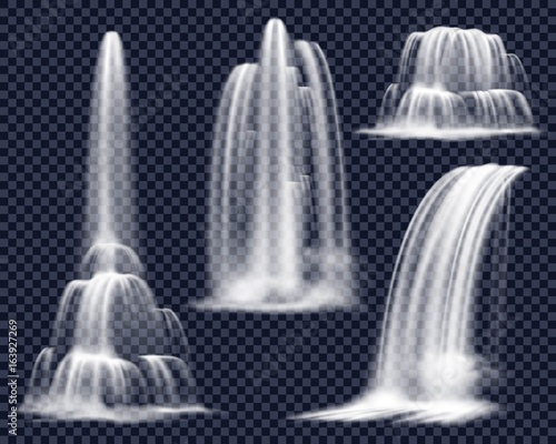 Realistic Waterfalls On Transparent Background Set - 163927269