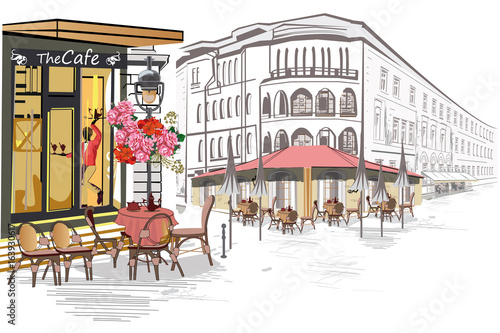 Fototapeta Series of street views in the old city. Hand drawn vector architectural background with historic buildings.