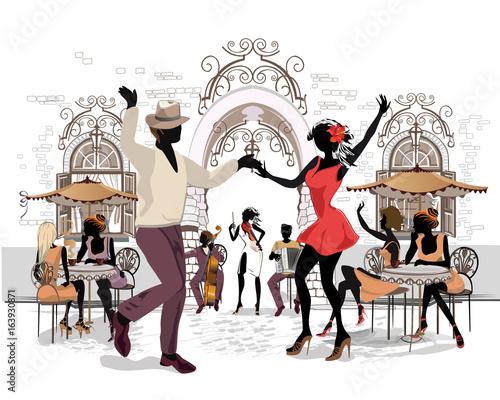 Fototapeta Romantic couple in passionate Latin American dances. Salsa festival. Hand drawn poster background.