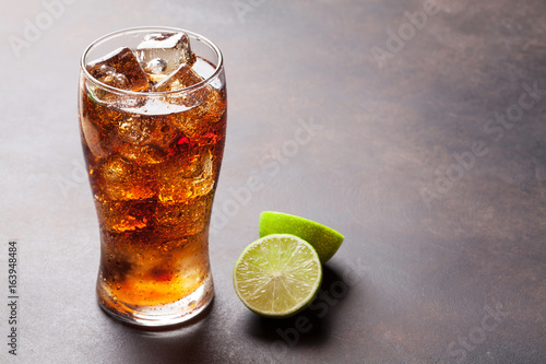 Cola glass with ice Poster