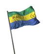 Постер, плакат: Gabon Flag Waving Isolated on White Background Portrait