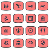Vector Illustration Set Of Simple Safeguard Icons. Elements Protect Currency, Home Protect  From Fire, Banking House And Other Synonyms Calculation, Economy And Round.
