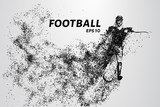 Silhouette of a football player from the particles. The player consists of small circles.