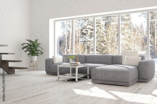 White idea of room with sofa and winter landscape in window. Scandinavian interior design. 3D illustration
