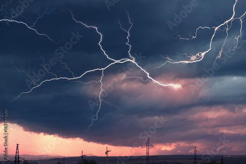 Fotobehang Thailand Dangerous Lightning Storm