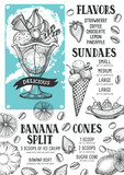 Ice cream menu template for restaurant and cafe. - 163973832