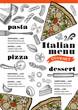 Pizza menu restaurant, food template. - 163974070