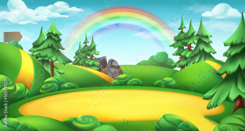Glade in a forest. Nature landscape 3d vector background - 163990295