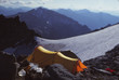 mountain camp with yellow tent