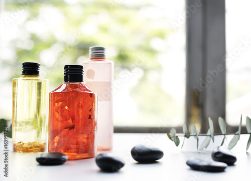 Closeup of spa bottles therapy set