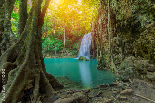 Waterfall in Deep forest at Erawan waterfall National Park, - 164000805