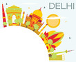 Delhi Skyline with Color Buildings, Blue Sky and Copy Space. - 164008414