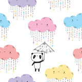 Seamless pattern for children.  Cute panda with umbrella and funny clouds for textile, wallpapers, gift wrap and scrapbook. Vector illustration.