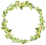 Green wreath watercolor decoration - 164013440