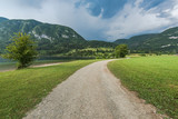 Countryside road by side of Bohinj Lake in Slovenia