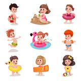 Cute cartoon boys and girls playing at the beach set, kids at summer vacation vector Illustrations