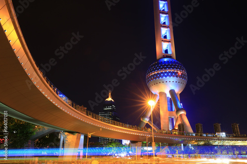 The night view of the Oriental pearl tower in Shanghai, China
