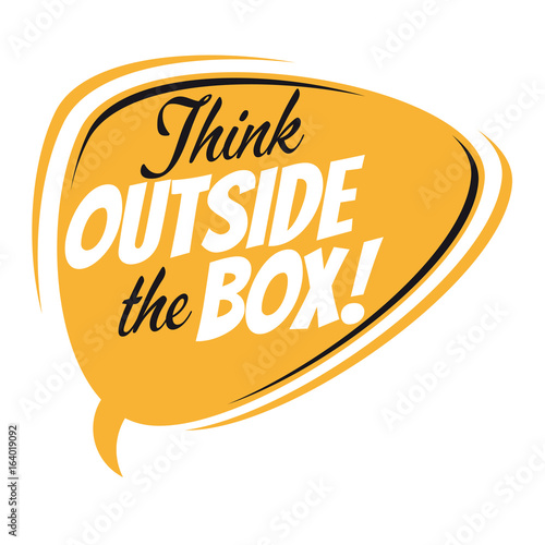 think outside the box retro speech bubble