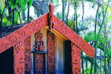 Honolulu, Hawaii - May 27, 2016:Carvings on a Maori Pataka (food store) in the Aotearoa Village at the Polynesian Cultural Center, a popular tourist attraction on Oahu. - 164026081