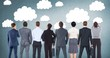 Group of business people standing in front of clouds graphics