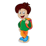 Boy with a backpack on a white background