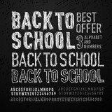 Chalk font, letters and numbers. Back to school