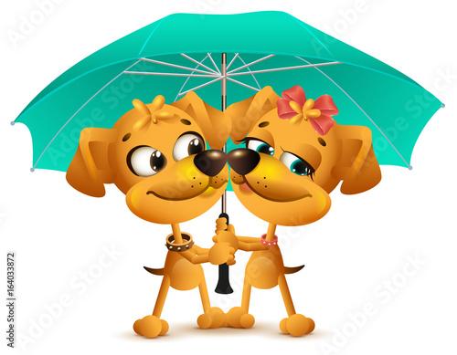Yellow dog loving couple holding an umbrella