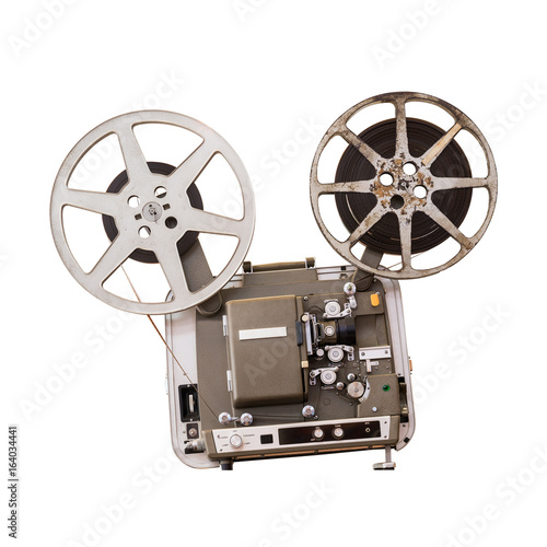 Deurstickers Retro Movie projector isolated