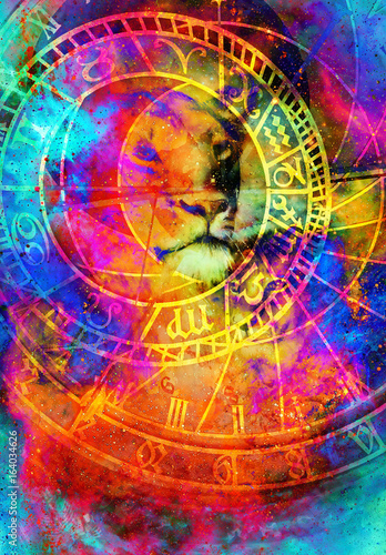 beautiful painting of lioness with zodiac motive in floating space energy and light.