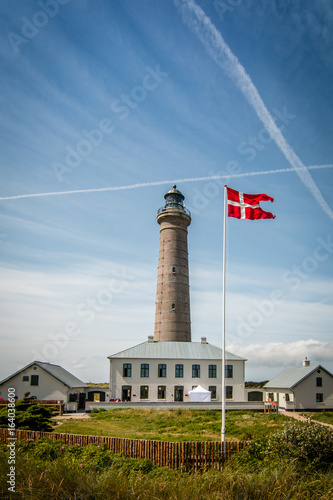 The lighthouse on Grenen beach near Skagen in Denmark