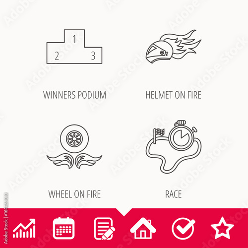 Winner podium, race timer and wheel on fire icons. Motorcycle helmet on fire linear sign. Edit document, Calendar and Graph chart signs. Star, Check and House web icons. Vector
